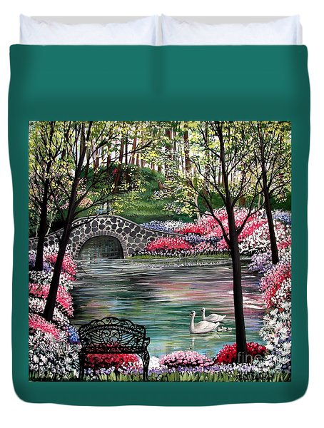 The Secret Azalea Garden Duvet Cover by Patricia L Davidson