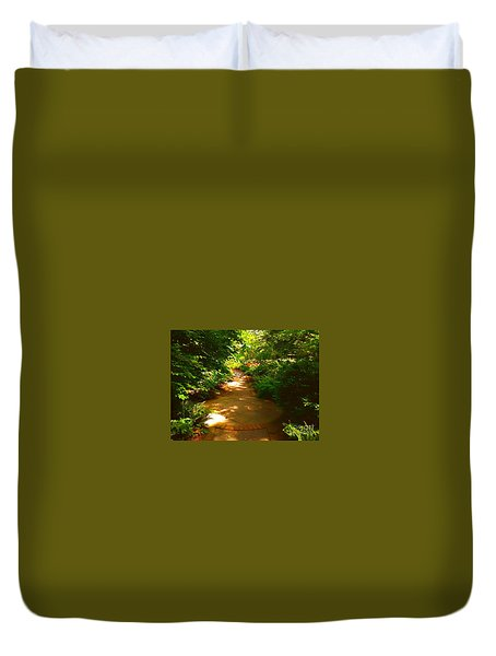 Duvet Cover featuring the photograph The Secret Path by Becky Lupe