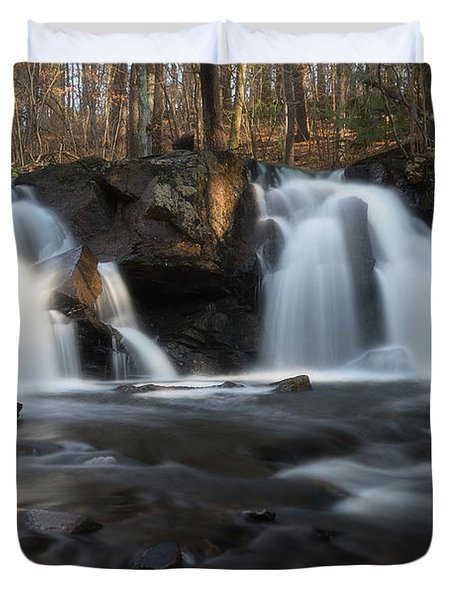 The Secret Waterfall In Golden Light Duvet Cover