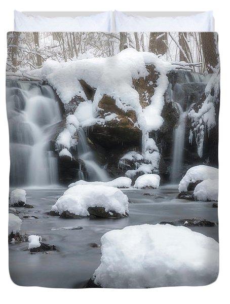 The Secret Waterfall In Winter 1 Duvet Cover