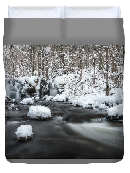 The Secret Waterfall In Winter 2 Duvet Cover