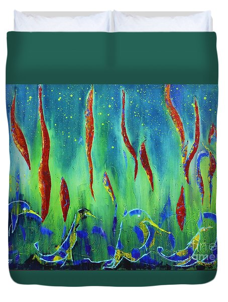 The Secret World Of Water And Fire Duvet Cover by AmaS Art