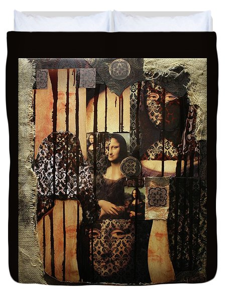 The Secrets Of Mona Lisa Duvet Cover by Michael Kulick