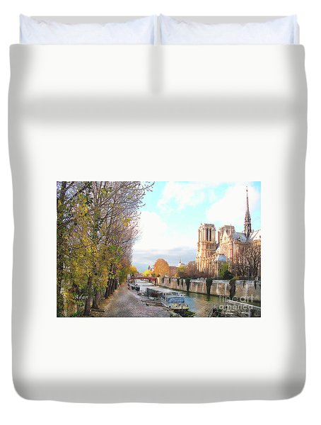Duvet Cover featuring the photograph The Seine And Quay Beside Notre Dame, Autumn by Felipe Adan Lerma