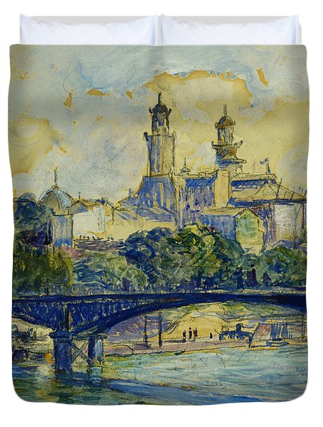 The Seine In Front Of The Trocadero Duvet Cover
