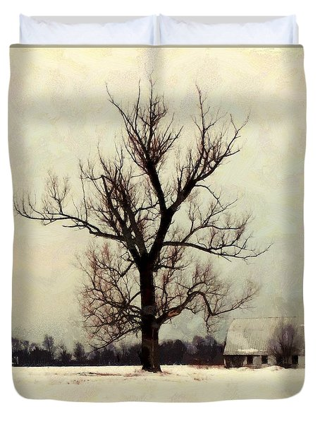 Duvet Cover featuring the photograph The Sentinel - Lone Winter Tree by Janine Riley