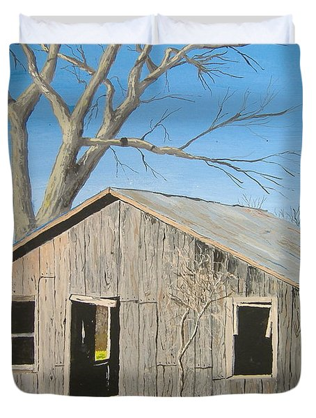 Duvet Cover featuring the painting The Shack by Norm Starks