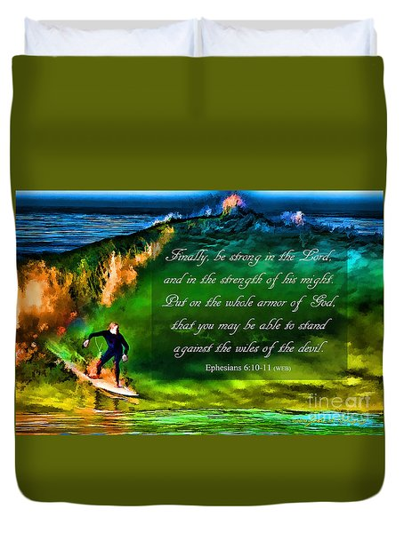 Duvet Cover featuring the photograph The Shadow Within With Bible Verse by John A Rodriguez