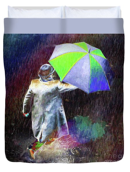 Duvet Cover featuring the photograph The Sheer Joy Of Puddles by LemonArt Photography
