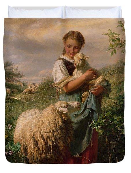 The Shepherdess Duvet Cover by Johann Baptist Hofner