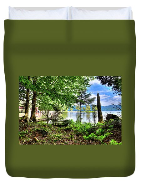 Duvet Cover featuring the photograph The Shore At Covewood by David Patterson
