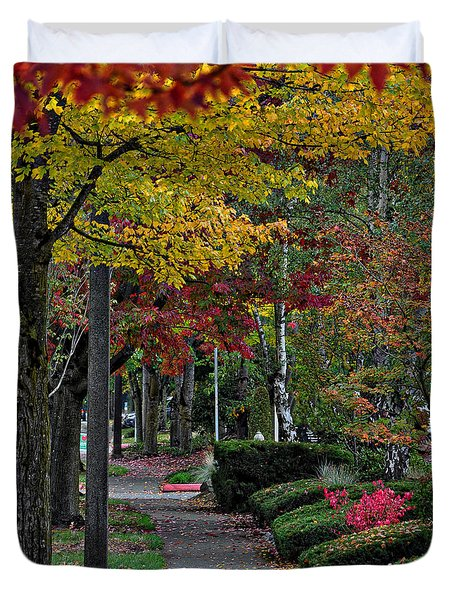 Duvet Cover featuring the photograph The Sidewalk And Fall by Kirt Tisdale