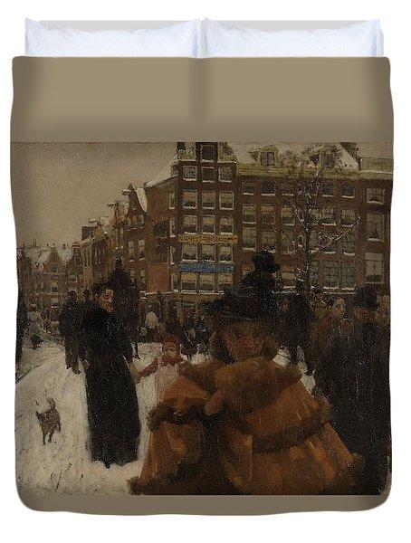 The Singel Bridge At The Paleisstraat In Amsterdam, 1896 Duvet Cover