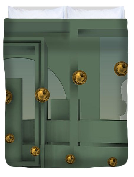 The Singular Song With Gold Balls Duvet Cover