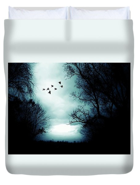 The Skies Hold Many Secrets Known Only To A Few Duvet Cover by Michele Carter