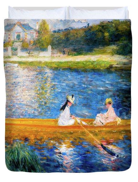Renoir Boating On The Seine Duvet Cover