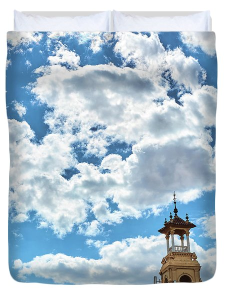 Duvet Cover featuring the photograph The Sky Above The Towers Of Montjuic by Eduardo Jose Accorinti