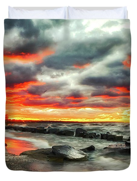 The Sky On Fire At Sunset On Lake Erie Duvet Cover