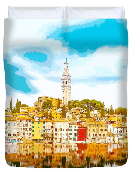 The Skyline Of The Picturesque Fishing Port Of Rovinj/rovigno In Duvet Cover