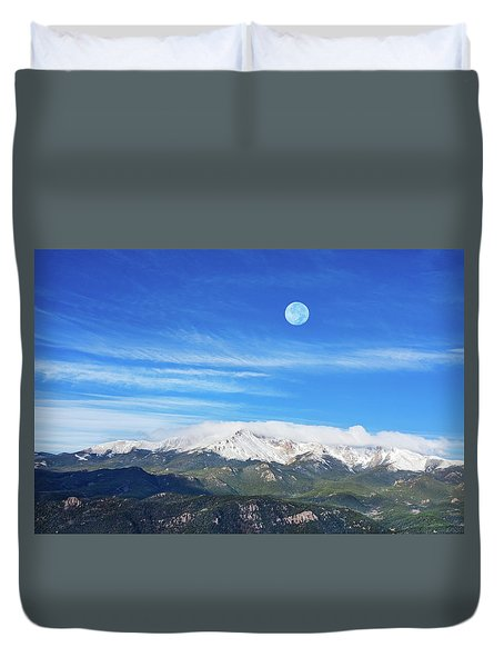 The Skyscraper That Towers Over My Hometown Reaches The Clouds At 14115 Feet Above Sea Level.  Duvet Cover