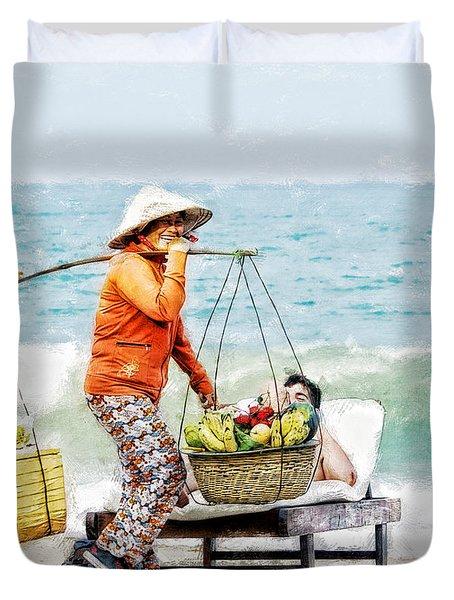 The Smiling Vendor Duvet Cover