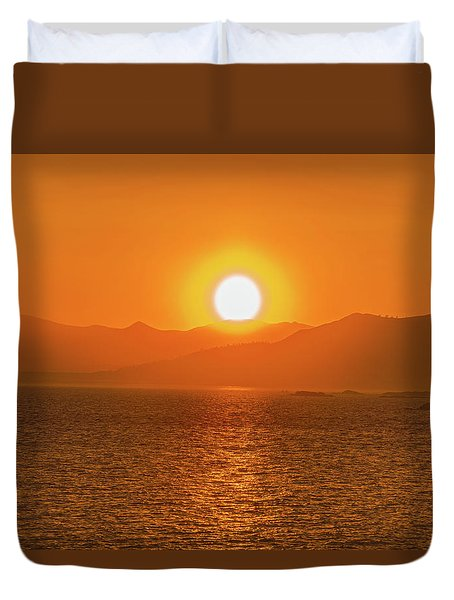 The Smoke From A Forest Fire Gave Us This Tangerine Sky Over 11-mile Reservoir State Park, Colorado. Duvet Cover