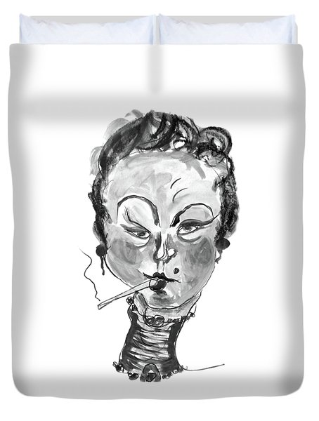 Duvet Cover featuring the mixed media The Smoker - Black And White by Marian Voicu