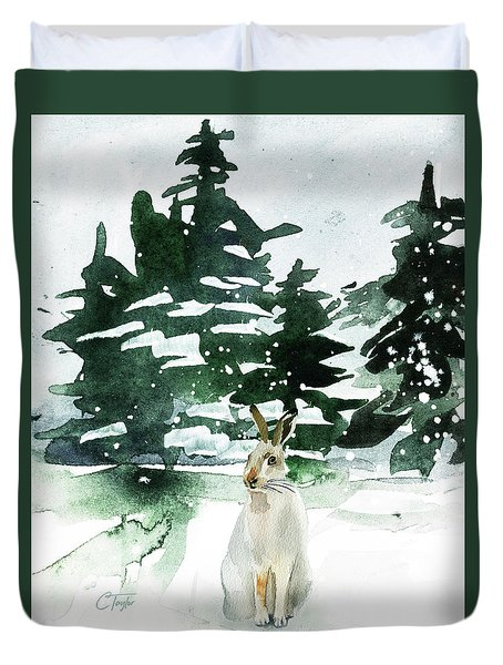Duvet Cover featuring the painting The Snow Bunny by Colleen Taylor