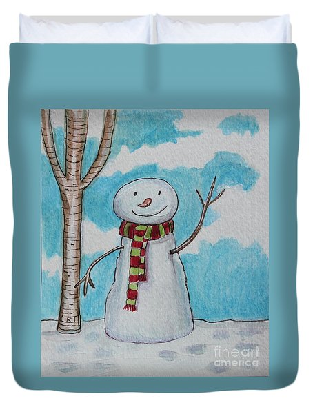 The Snowman Smile Duvet Cover by Elizabeth Robinette Tyndall