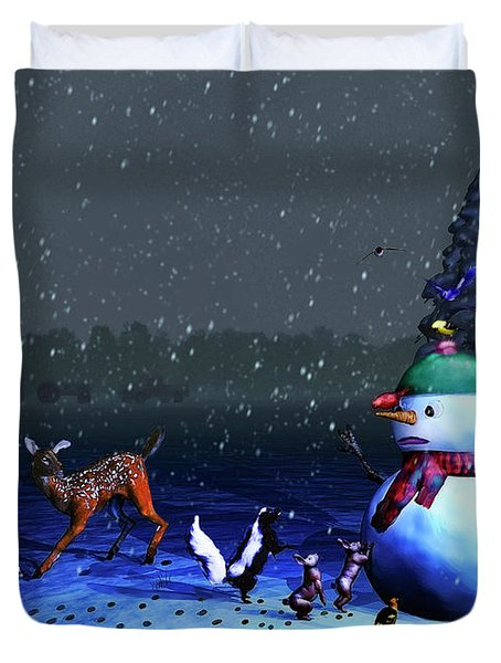 The Snowman's Visitors Duvet Cover