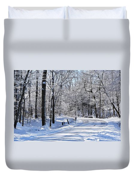 The Snowy Road 1 Duvet Cover