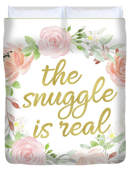 The Snuggle Is Real Wall Art Baby Girl  Nursery Pillow Boho Blush Gold Duvet Cover