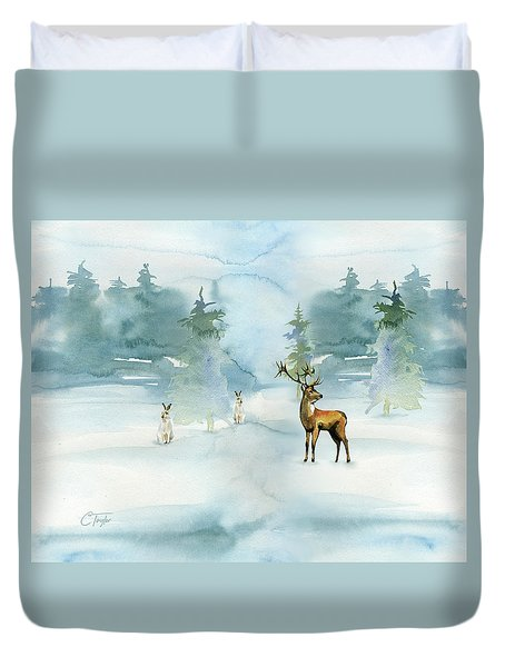Duvet Cover featuring the digital art The Soft Arrival Of Winter by Colleen Taylor