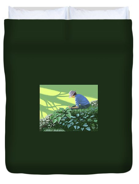 Duvet Cover featuring the painting The Solace Of The Shade Garden by Gary Giacomelli