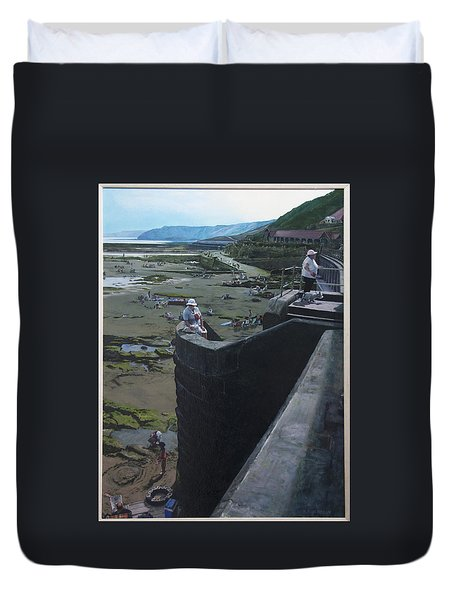 Duvet Cover featuring the painting The South Bay In Scarborough. by Harry Robertson