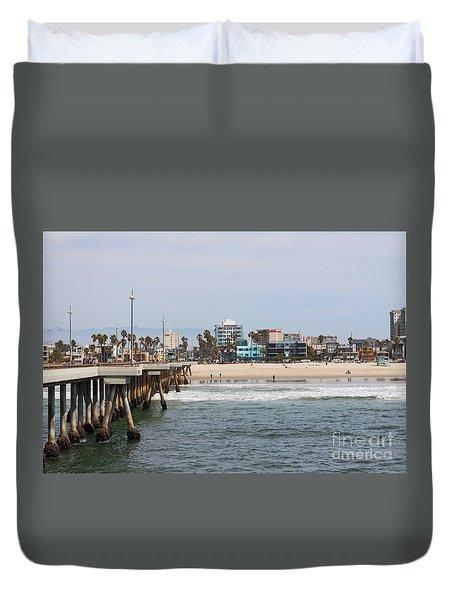 The South View Venice Beach Pier Duvet Cover by Ana V Ramirez