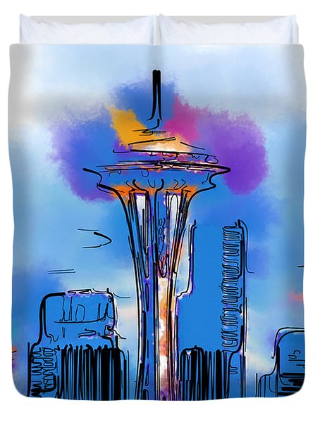 The Space Needle In Soft Abstract Duvet Cover