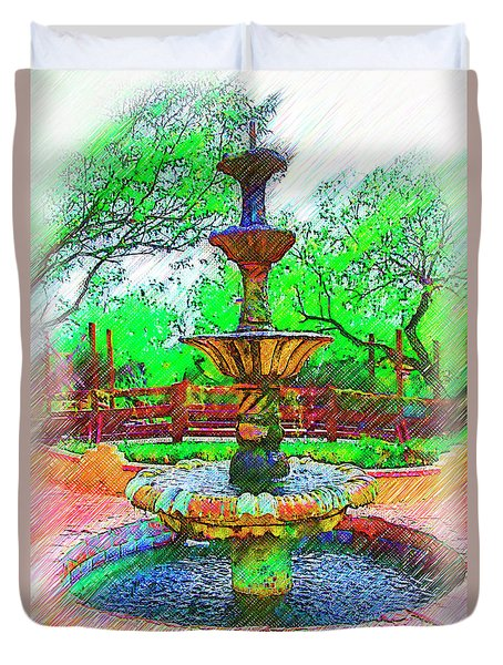 The Spanish Courtyard Fountain Duvet Cover