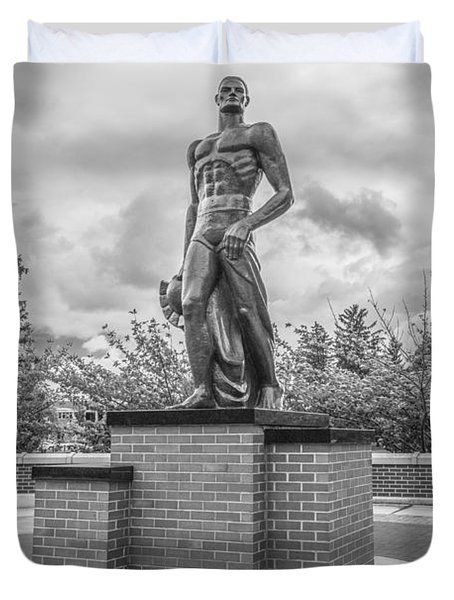 The Spartan Statue Black And White  Duvet Cover