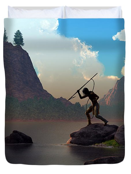Duvet Cover featuring the digital art The Spear Fisher by Daniel Eskridge