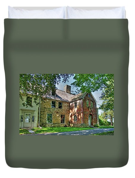 Duvet Cover featuring the photograph The Spencer-peirce-little House In Spring by Wayne Marshall Chase