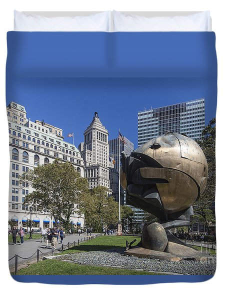 Duvet Cover featuring the photograph The Sphere Batterie Park Nyc by Juergen Held