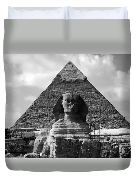 The Sphynx And The Pyramid Duvet Cover