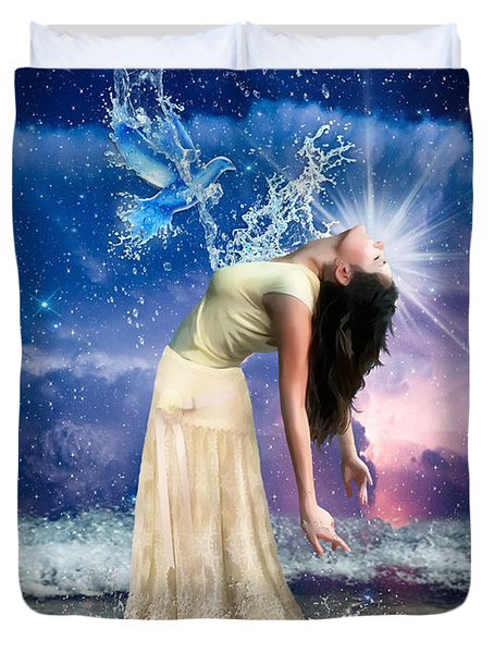 Duvet Cover featuring the digital art The Spirit Of Truth by Dolores Develde