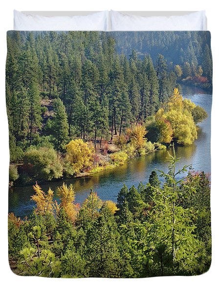 Duvet Cover featuring the photograph The Spokane River  by Ben Upham III