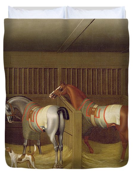 The Stables And Two Famous Running Horses Belonging To His Grace - The Duke Of Bolton Duvet Cover by James Seymour