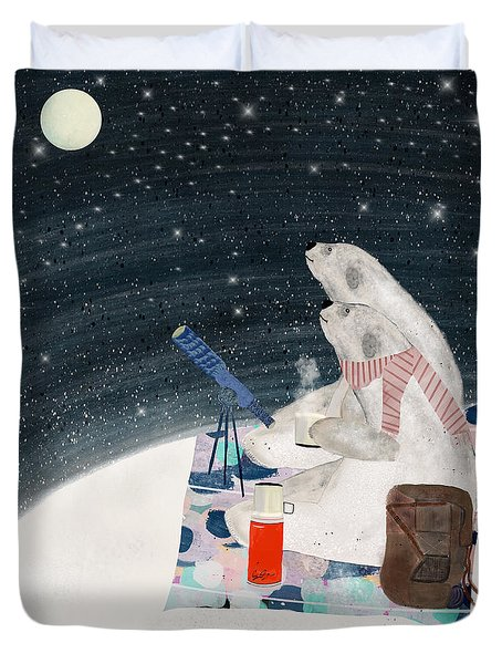 Duvet Cover featuring the painting The Stargazers by Bri B
