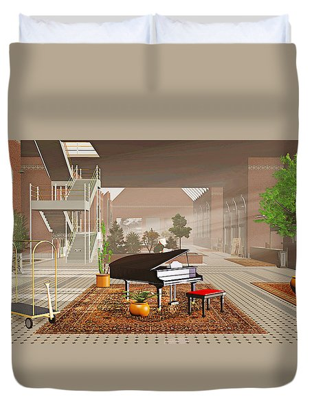 Duvet Cover featuring the painting The Station by Peter J Sucy