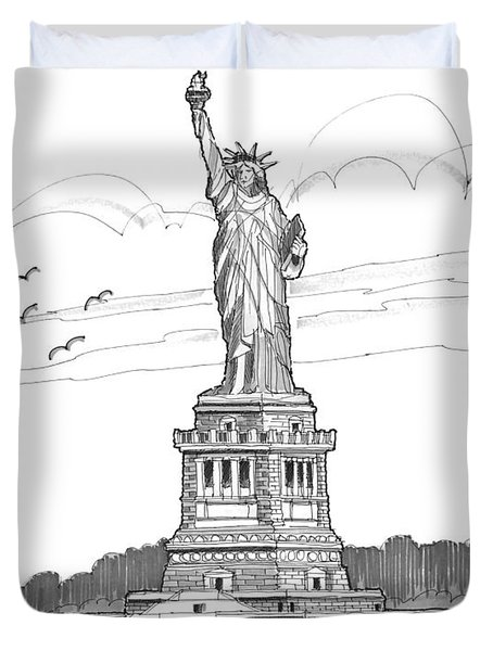 The Statue Of Liberty Lighthouse Duvet Cover