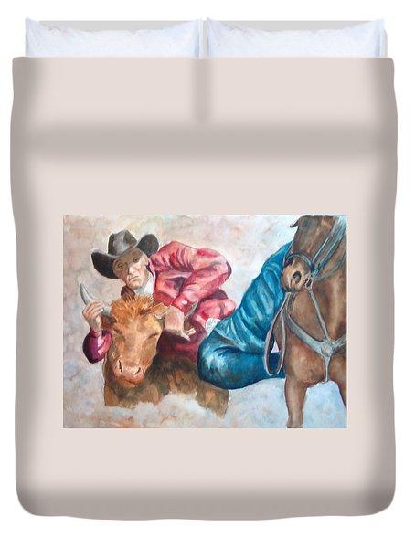 The Steer Wrestler Duvet Cover